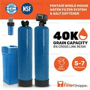Pentair Whole House Water Filter System And Salt Softener 5-7 Bathrooms - Kdf
