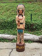 John Gallagher Carved Wooden Cigar Store Indian 5 Ft. Tall Buffalo Very Detailed