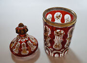 1890and039s Antique Facet Ruby Red Glass Gild Painting Vase Cup Bowl Ottoman Market