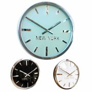 Swiss Manhattan Custom Time Zone Wall Clock Gloss Black White And Frosted