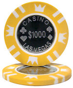 25 Ct Yellow 1000 1k One Thousand Dollars Coin Inlay 15 Grams Poker Chips