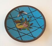 19th C. Chinese Cloisonne On Bronze 12 Charger, Meiji Period, Fruit Decoration