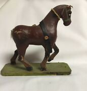 Vintage Brown Wood Horse Pull Toy With Green Basegermany