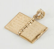 14k Yellow Gold Holy Blble Book W/ Our Father Prayer Inside Pendant Necklace