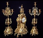 Beautiful Large French Antique Gilt Bronze Set Clock And Candelabras