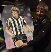 Peter Beardsley Newcastle United Signed Rare Oil Painting Huge Rrp Andpound499.99