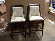 2 Frontgate Kent Vogue Gold Fabric Barstool Bar 30 Wood Kitchen Counter Stool