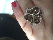 Genuine 1.50 Ctwhite And Champagne Diamond 18kt Gold Over Sterling Silver Ring
