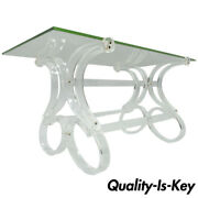 Vtg Mid Century Modern Scrolling Lucite And Glass Hollywood Regency Coffee Table