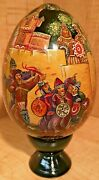 Large Russian Lacquer Egg Fairy Tale By Suvorkov Knights Hand Painted Stand Mint
