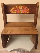 Vintage Oak Wood Kidand039s Toy Step Stool / Chair With Picture Of Toys