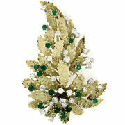 Vintage Large 14k Yellow Gold 4.60ctw Diamond And Emerald Textured Leaf Brooch Pin