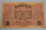 Romania Nd 1917 5 Lei German Occupation Banknote Pickm-5 F- With Stamp Billete