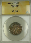 1722 England Great Britain Silver Shilling Coin George I Anacs Vg-10