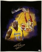 Shaquille Oand039neal Signed 18x24 Canvas Photo Lakers Hof Shaq Auto Psa/dna Coa