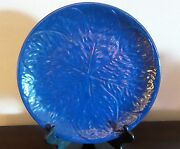 Italian Pottery Large Round Platter Signed Blue Black Leaves Outlined  Embossed