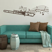 Trombone With Music Sheet Notes Vinyl Wall Decal - Fits Family Room + More K674