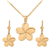 14k Yellow Gold Hawaiian Plumeria Flower Pendant Necklace And Matching Earrings