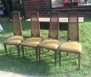 4 Vtg Mcm High Cane Back Dining Wood 1960s Chairs 1271 Mcdonald Ave Brooklyn Ny