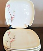 222 Fifth Pts International Square Calming Dinner Plates X4 Cream Floral
