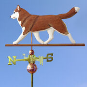 Siberian Husky Hand Carved Hand Painted Basswood Dog Weathervane Red/white