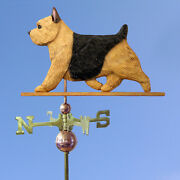 Norwich Terrier Hand Carved Hand Painted Basswood Dog Weathervane Black Andtan