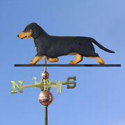Dachshund Smooth Hand Carved Hand Painted Basswood Dog Weathervane Black And Tan