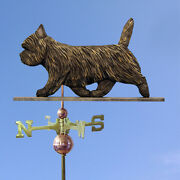 Cairn Terrier Hand Carved Hand Painted Basswood Dog Weathervane Black Brindle