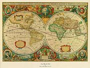 Ancient Map Of The World By Henricus Hondius Antique Map Poster