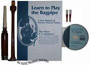 New A-j Learn To Play Bagpipes Manual Book /cd And Practice Chanter With 2 Reeds