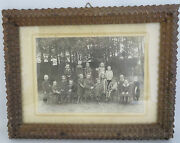 Wwi German Picture Photo Children School Black Forest Wood Carved Frame Germany