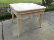 Very Nice Henredon Cow Horn Legs Lamp End Table Antique White Ash Finish