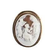Figural Antiquity Scene Shell Cameo Brooch Pendant 9k Gold, 3 Detailed Figures