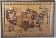 State Quarters Wooden Display Map Collectors Edition Hand Crafted