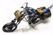 Handmade Blue Indian Motorcycles 18 Tinplate Antique Style Metal Model