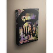 City Stroll Couple Walking In City Painting 18x24 Canvas Gallery Wrap Wood Frame