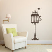 Opened Birdcage On Stand With Two Birds Vinyl Wall Decal -fits Nursery Room K676