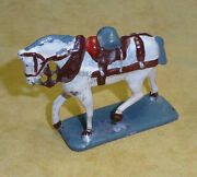 Vintage Victoria 1900 Model Soldiers Lead White Horse And Harness And Saddle Antique