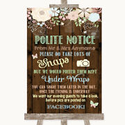 Rustic Floral Wood Donand039t Post Photos Facebook Personalised Wedding Sign