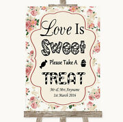 Vintage Roses Love Is Sweet Take A Treat Candy Buffet Personalised Wedding Sign