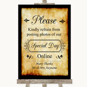 Western Donand039t Post Photos Online Social Media Personalised Wedding Sign
