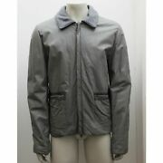 New Mens Lanvin Grey Calfskin Leather Jacket Size 56 Bnwt Rrp Andpound2525