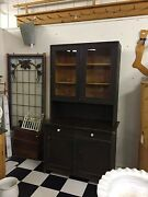Pine Kitchen Step Back Hutch Cupboard In Old Black-brown Paint W/white Knobs