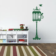 Opened Birdcage On Stand With Two Birds Vinyl Wall Decal - Fits Playroom K676