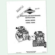 Briggs And Stratton 5hp Engine Series 130900 132900 Operating Manual Operators