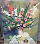 Gorgeous Signed Lagar - Oil On Canvas - Vase With Flowers And Fruits