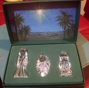 Marquis Waterford Crystal 3 Pc The Nativity Holy Family In Box Germany Rw4