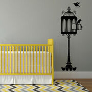 Opened Birdcage On Stand With Two Birds Vinyl Wall Decal -fits Child's Room K676