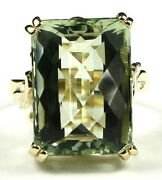 Green Amethyst Solid 10ky Or 14ky Gold Ladies Ring R039-handmade