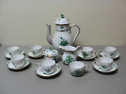 18 Pc. Herend Porcelain Chinese Bouquet Coffee Service, Green W/ 24k Gold Trim